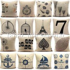 Vintage Nautical Cotton Linen Cushion Cover Throw Pillow Cases Home Sofa Square #VintageRetro