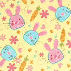 Michael Miller fabric Snack Bunny with rabbit & carrot 1