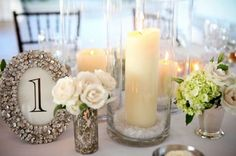 small floral arrangements and large candles. Next Wedding, Chic Wedding, Floral Wedding, Wedding Details, Wedding Events, Wedding Flowers, Dream Wedding, Wedding Stuff, Fantasy Wedding