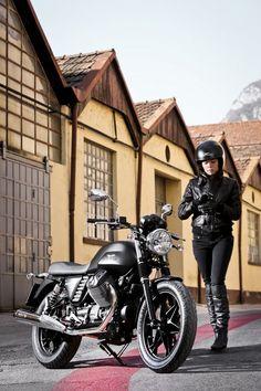 The Moto Guzzi V7 girl again. Man she goes well with that bike. Or should I say… that bike goes well with her.