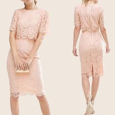 MACloth Two Piece Lace Pink Cocktail Dress Short Sleeves Midi Formal Gown Trendy Dresses, Elegant Dresses, Nice Dresses, Fashion Dresses, Short Sleeve Dresses, Short Sleeves, Wrap Dresses, Fall Dresses, Casual Dresses
