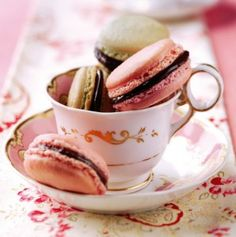pink macaroons with chocolate filling