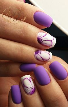 Popular nail polish ideas for the Spring Trend 2018 39 Number Details - Most Trending Nail Art Designs in 2018 Purple Christmas Nail Art Designs Ideas For Winter Purple nail art looks great on long nails. Especially purple shades help out owners of extend Purple Nail Art, Purple Nail Designs, Colorful Nail Designs, Nail Designs Spring, Nail Art Designs, Nails Design, Matte Purple Nails, Floral Designs, Nail Art Flowers Designs