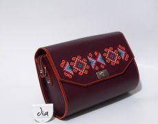 Geanta piele naturala brodata manual cu motive traditionale romanesti Leather Bags Handmade, Sunglasses Case