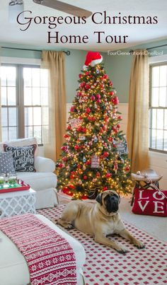 Gorgeous Christmas tree decorating ideas + full Christmas Home Tour featuring a black + red Nostalgic tree / Beautiful flocked natural owl tree and gold metallic ornaments / Four Generations Living Under One Roof