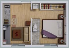 appartment to de sold at Mexico City Shed To Tiny House, Small House Plans, Studio Apartment Layout, Apartment Design, Mini Loft, Micro Apartment, Apartment Floor Plans, House Layouts, Small Apartments