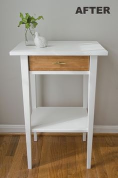 Hemnes bedside tables - sand and stain/varnish top instead