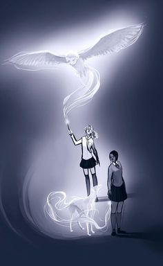 Reyna and Annabeth Chase with their patronus= My 2 fave book series. COMBINED - faints -