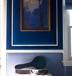 Dark Walls, Blue Walls, Upholstered Walls, Zooey Deschanel, Sound Proofing, Jpg, Wall Treatments, Blue Velvet, Wall Colors