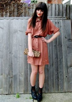Vintage Shirt Dress, Topshop Clogs