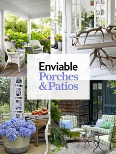 Front porches and back patios are our favorite spots to relax in the warmer months. Make yours your favorite escape too with these best front porch ideas, including outdoor decorating ideas, patio ideas, and more. Outdoor Rooms, Outdoor Living, Outdoor Decor, Country Front Porches, Patio Wedding, Porch Decorating, Decorating Ideas, Decor Ideas, Patio Umbrellas
