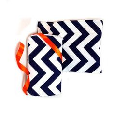 Set of 2: diaper Clutch and baby wipes case Set navy Chevron travel set diaper bag accessory great baby shower gift