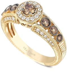 8 Popular Engagement Rings: Le Vian White and Chocolate Diamond Engagement Ring (5/8 ct. t.w.) in 14k Gold