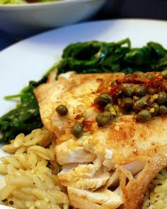 Cobia with a Caper and Saffron Reduction-Takes less than 20 minutes and even the pickiest eater will love it #fish