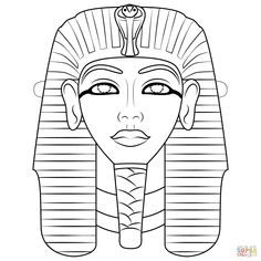 Egyptian Mask coloring page from Masks category. Select from 32015 printable crafts of cartoons, nature, animals, Bible and many more. Ancient Egypt Crafts, Egyptian Crafts, Egyptian Mask, Egyptian Party, Free Kids Coloring Pages, Free Printable Coloring Pages, King Tut Mask, Mask Drawing, Surreal Artwork