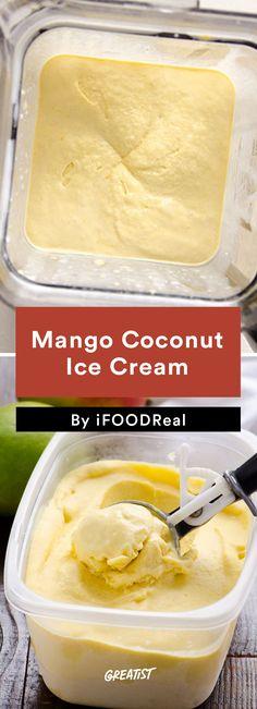 4. Mango Coconut Ice Cream #icecream #recipes https://greatist.com/eat/ice-cream-recipes-that-dont-require-fancy-equipment