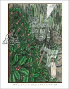 Holly Card Giclee Print by Mickie Mueller, VoiceOfTheTrees on Etsy