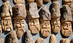 Stock image of 'Figurines made of wood folk art'