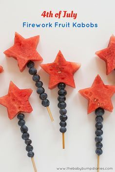 "Homemade and kid friendly 4th of July Firework Fruit Kabobs! These are a festive and delicious way to ""spark up"" your fruit tray!"