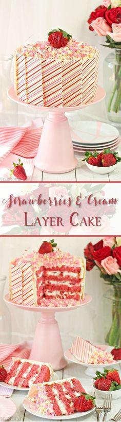 Strawberries and Cream Layer Cake - Strawberries and Cream Layer Cake - moist strawberry cake, vanilla bean whipped cream, and lots of fresh strawberries! Layer Cake Recipes, Best Cake Recipes, Sweet Recipes, Layer Cakes, Strawberry Desserts, Fresh Strawberry Cake, Strawberry Fields, Just Cakes, Strawberries And Cream
