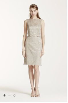 Short Metallic Lace Dress with Removable Popover - Gold Metallic