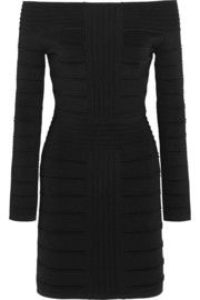 Balmain Off-the-shoulder ribbed stretch-knit mini dress