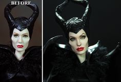 Before and After. Noel Cruz of ncruz.com has repainted and restyled a third Maleficent-this time from the battle scene of the film. Currently up for auction on eBay visit ncruz.com for ebay link.