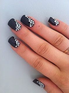I have never painted my nails black (aside from Halloween,) but now I might! Black and White Polka dot nails #slimmingbodyshapers How to accessorize your look Go to slimmingbodyshapers.com for plus size shapewear and bras Nail Design, Nail Art, Nail Salon, Irvine, Newport Beach