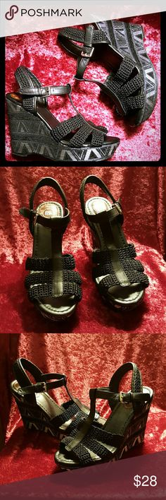 The Sak Platform Crochet Wedges Beautiful platform wedge sandals with black & silver crochet & zig-zag textile design Faux leather sole & lining  Silver buckle Excellent used condition; very comfortable! The Sak Shoes Wedges