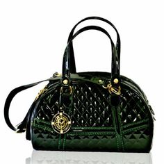 Valentino Orlandi Designer Italian Emerald Green Quilted Leather Large Bowling Bag