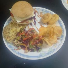 Salad with cheese burger