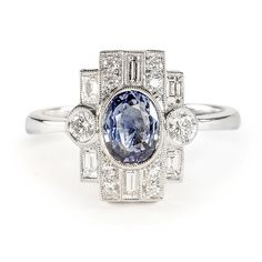 Beverley K Art Deco Sapphire and Diamond Ring | Greenwich Jewelers
