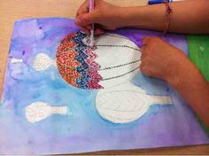 Pointillism Project with marker and watercolors for kids