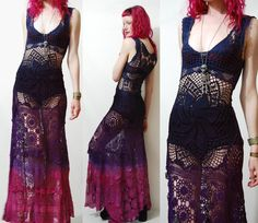 Crochet Dress VINTAGE LACE Purple Blue Black OMBRE Long Maxi Sheer Grunge Gypsy Bohemian Hippie ooak Handmade xxs xs
