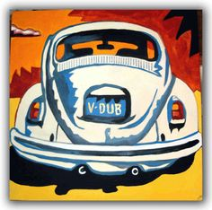 My car came back to me. Now I have to find the VW Bus.ORIGINAL VW BEETLE ART BUG ART VOLKSWAGEN CAMPER BUS SURFBUS ART Original Handpainted Bespoke Canvas Art from The Kludoman Surf Co.