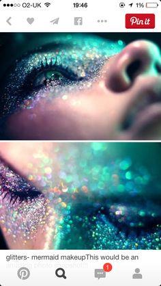 Aqua glitter & make-up :) Exotisches Makeup, Costume Makeup, Beauty Makeup, Alien Makeup, Makeup Ideas, Demon Makeup, Dance Makeup, Makeup Tutorials, Makeup Inspo