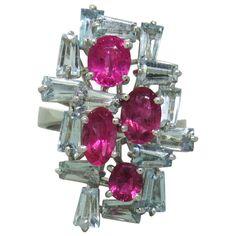 H Stern Aquamarine Pink Tourmaline Gold Ring   1stdibs.com