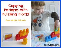 This activity focuses on copying patterns using building blocks. Great for hand-eye coordination and fine motor skills. Kids Learning Activities, Toddler Learning, Toddler Fun, Infant Activities, Early Learning, Preschool At Home, Preschool Math, Kits For Kids, Pattern Blocks