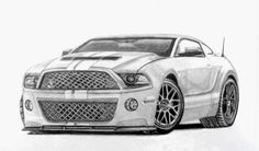 How to draw cars, see how to draw a Mustang GT500 hot rod custom car and learn how you can best draw your own, step by step. This is the end result of the car you can see being drawn in the video and you can learn how to do the same with basic instructions.