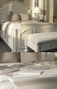 Wake up in your own coastal resort with the adorably quaint Claire shuttered mansion bed.