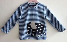 zuckersuesses+Elefant+auf+Jungspulli+blau-weiss+von+zuckersüßes+auf+DaWanda.com