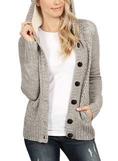 New ROSKIKI Womens Cable Knit Open Front Sweaters Button Down Hooded Cardigan  Coats with Pockets online 4d56477ce