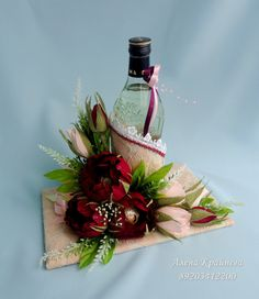 Gallery.ru / Фото #19 - Дарим подарки красиво - alena-vesna Wine Bottle Gift, Wine Bottle Crafts, Bottle Art, Wine Presents, Wine Gifts, Creative Gift Wrapping, Creative Gifts, Flower Crafts, Flower Art