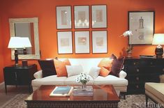 High Point Market Spring A Tour of Hickory Chair's Gorgeous Square Foot Showroom Orange Rooms, Living Room Orange, Orange Walls, New Living Room, Living Room Decor, Living Spaces, Home Design, Interior Design, Hickory Chair