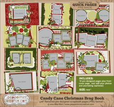 Candy Cane Christmas Brag Book  : Peppermint Creative, Digital Scrapbook Supplies. These are 4x6 templates that you could print out and place into a larger album.