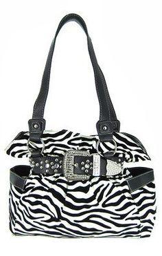 Belted Rhinestone Western Buckle Soft Zebra Stripes Purse Black Trim: Price:$38.99
