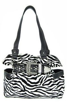 Belted Rhinestone Western Buckle Soft Zebra Stripes Purse Black Trim: Price:	$38.99