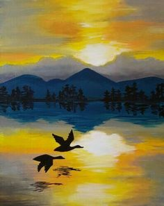 sunset and flying geese