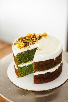 Mint olive oil cake with labneh and honey