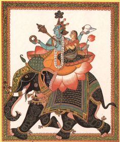 Vishnu and Lakshmi on Gajavahana. Gouache.